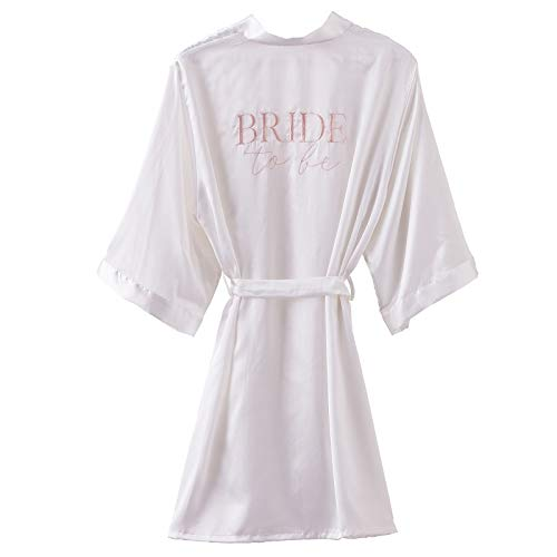 Miss Lovely Satin Kimono Morgenmantel Bride to BE weiß & rosa Blush/Zubehör Accessoires Braut Frauen JGA Junggesellen-Abschied Junggesellinnen-Abschied Party Hochzeits-Accessoires