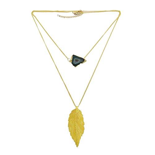 Latón Electroplated Druzy ágata de la piedra preciosa pendiente de cadena india Bisutería
