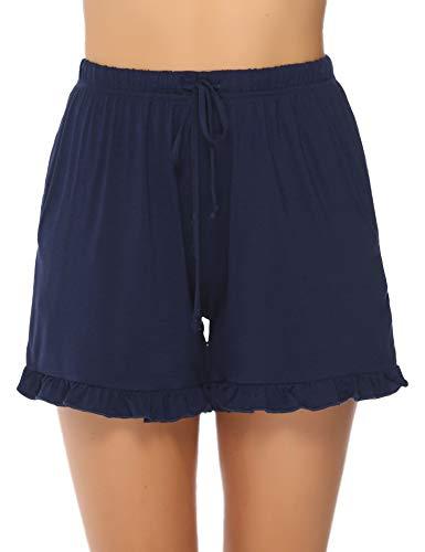 Hawiton Damen Schlafanzughose Pyjamahose Kurz Baumwolle Nachtwäsche, Uni-blau, Gr.- XL
