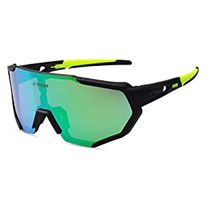 X-TIGER Polarized Sports Sunglasses with 3 or 5 Interchangeable Lenses,Mens Womens Cycling Glasses,Baseball Running…