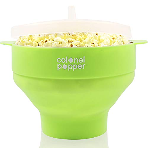 Colonel Popper Healthy Microwave Popcorn Maker Silicone Collapsible Bowl - LFGB Food Grade Certified (8 colors)