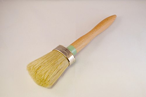 1.5' Brush for Jolie Paint/Chalk Based Paint, with White Natural Bristles and Ergonomic Round Handle - for Furniture, Cabinetry, Home Decor, DIY Furniture, Faux & Wax Finishing