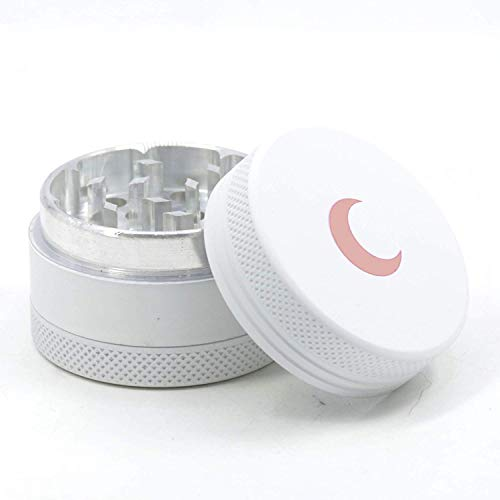 Soft to The Touch 1.5 inch Best Herb Grinder - Premium 3 Piece Small Metal Spice Grinder White with Pink Moon, Easy to Carry - Upgraded Version
