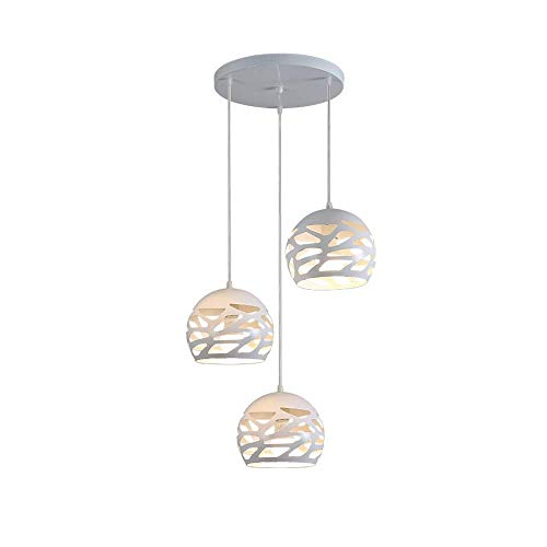 MKXF Luces Colgante esférico Accesorio de iluminación Hogar Sala de Estar Lámpara Hueca Blanca Restaurante nórdico Hierro Forjado