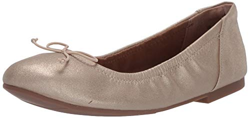 Amazon Essentials Girls' Belina Ballet Flat, Gold Glitter, 13 B US Little Kid