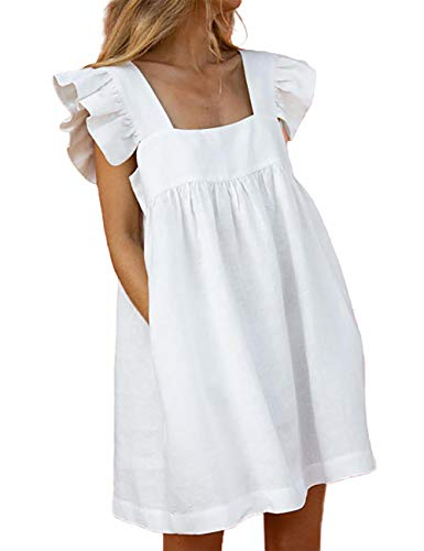 CHICME Summer Womens Solid Color Square Neck Pleated Ruffle Short Sleeve Loose Flowy Dress Style 1 White L