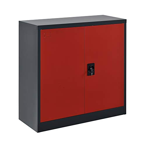 [en.casa] Armario de Oficina 90 x 40 x 90 cm Archivador con Cerradura y 2 Puertas 2 Estantes para Almacenar Organizador Rojo y Gris Oscuro