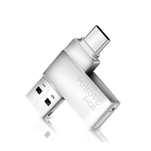 Memoria USB 64 GB Tipo C 3.0, POHOVE 2 En 1 Pendrive USB 64 GB Flash Drive USB C para PC / Tableta / Huawei / Xiaomi para Transmisión Almacenamiento De Datos (Plateado)