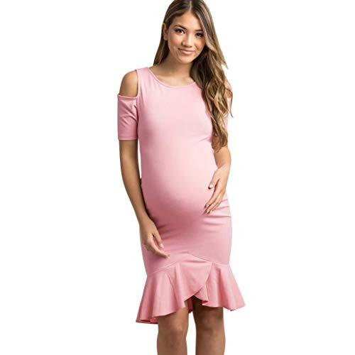 DIPOLA Damen Schwangerschaft Bauchband Schwangerschaft Chwangere Frauen Kurzarm Armband Strap Solid Color Dress Mutterschaft Kleid Schwangere Frauen Off-The-Schulter Kurzarm Rüschen Einfarbig Kleid