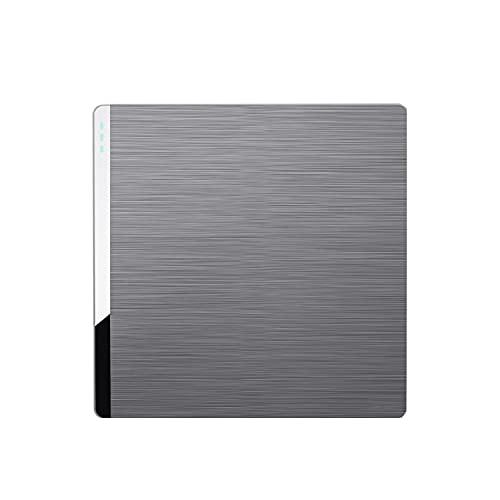 Yoaodpei Panel de interruptores domésticos Gris Oscuro 10A-220V Panel Grande de PC ignífugo con luz indicadora Interruptor de Dormitorio basculante Oculto Tipo 86
