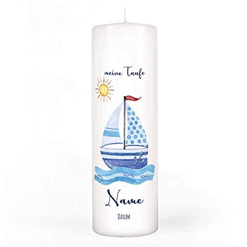 Striefchen® Taufkerze für Jungen mit Namen u. Taufdatum sowie eigenen Taufspruch 8x25 cm - Motiv Segelschiff
