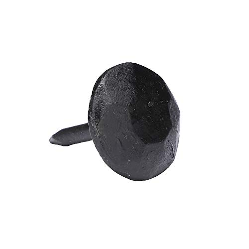 (Set of 12) 1 x 1 Inch Round Iron Clavos Decorative Nails, Hand Forged, Natural Black Finish