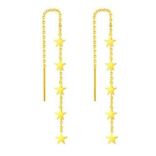 FPOJAFVN Pendientes De Estrella De Oro Amarillo De 18 Quilates, Pendientes De Borla De Moda, Pendientes Bohemios, Regalo De Joyería para Mujer,Oro