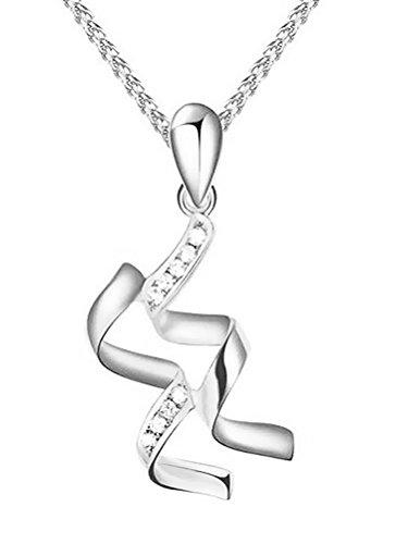 Paialco Trend - Collar con colgante de plata de ley chapado en rodio, diseño de signo del zodiaco Acuario