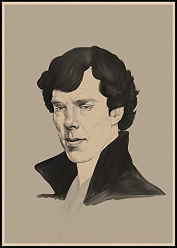 Weibing Sherlock Holmes Posters Película Lienzo Pintura Bar Cafe Shop Hogar Dormitorio Decoración y colección de Ventiladores 50X70 Cm (19.68X27.55 in) Q-1105