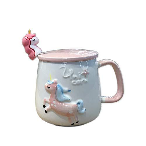 Wly&home Klingel-Porzellan-Kaffeetasse mit Deckel und Löffel, 12oz großen Griff Becher, Einhorn-Rüttler Cappuccino Cups Für Latte, Cafe Mokka Tea Cups 2er-Set