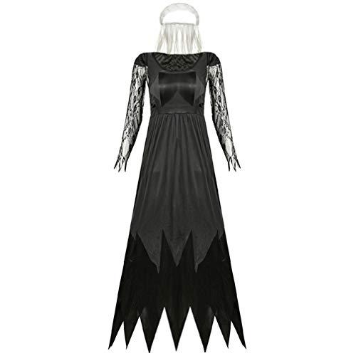 KESYOO Vestido de Novia de Halloween Vestido de Encaje Negro Traje de Novia Zombie Vestido de Vampiro Cosplay Disfraz de Fiesta de Halloween para Mujeres Adultos