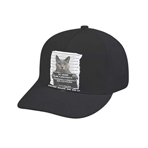 AXGM Unisex-Erwachsene Kappe Katzenminze Schwarzer Katzen Verbrecher Mütze Modische Hut Snapback Cap Verstellbar Basecap für Tennis Golf Reisen White OneSize