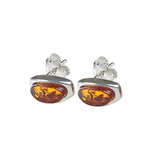 Sterling Silver Baltic Amber Earrings 'Madelyn'