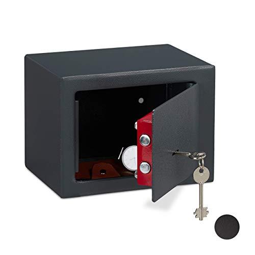 Relaxdays Möbeltresor mit Schlüssel, Doppelbartschloss, Befestigung an Wand o. Boden, Minisafe, HBT: 17 x 23 x 17, grau