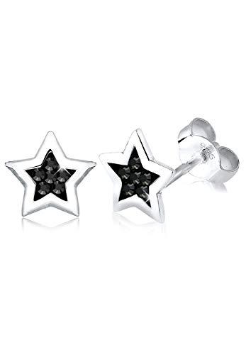 Elli Ohrringe Damen Stern Astro Trend mit Swarovski® Kristalle Schwarz in 925 Sterling Silber