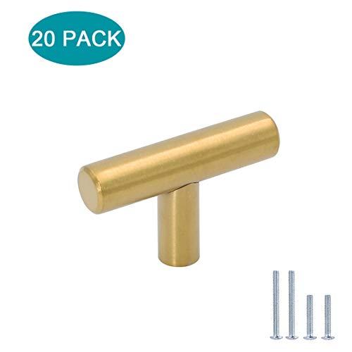 20 tiradores de latón cepillado para armarios de cocina, cajones, armarios, armarios y cajones, de la marca LONTAN, acero inoxidable, dorado, orificio individual