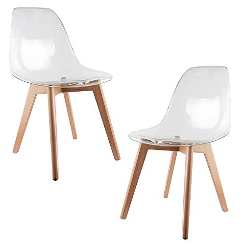 THE HOME DECO FACTORY - HD3087 - Lot de 2 Chaises Scandinave Transparente Bois Transparent 47, 5x54x86 cm