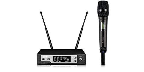 Audibax - Sidney U508 - Micrófono Inalámbrico Profesional UHF Doble - Micrófono de Mano Dinámico - Amplio Rango de Cobertura - Directividad Cardiodie - Pilas Tipo AA