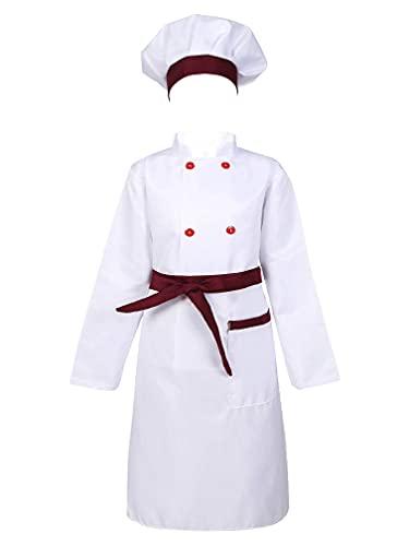 MSemis Disfraz Cocinero para Nios Nias Camiseta + Delantal+ Sombrero Uniforme de Chef Disfraces Cosplay Halloween Carnaval Disfraz Panadero C Vino 7-8 aos