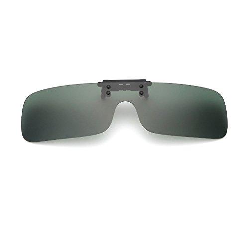クリップオン オーバーサングラス 偏光レンズ uv400カット を防ぐ 夜用メガネ 夜用眼鏡 夜釣り 釣り 運転 夜間運転用 昼夜兼用 男女兼用 (ダークグリーン)