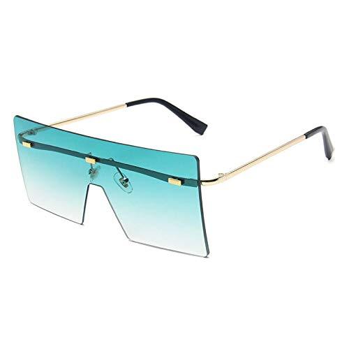 HAOMAO Gafas de Sol cuadradas graduadas sin Montura de Gran tamaño Vintage para Mujer Gafas de Lente oceánica Transparente Grandes Sombras Greengradient
