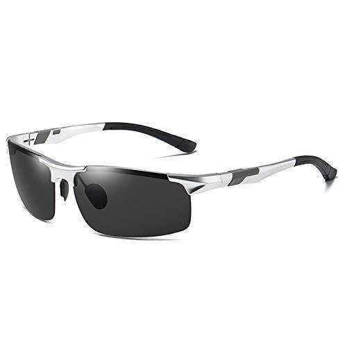 HDSJJD Gafas De Sol Polarizadas De Aluminio Y Magnesio Que Cambian De Color para Hombres-UV400 Gafas De Sol Deportivas De Medio Marco-Montar con Gafas De Visión Nocturna,E