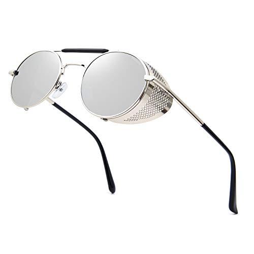 RONSOU Steampunk Stil Rund Vintage Sonnenbrillen Retro Brillen UV400 Schutz Metall Rahmen silber rahmen/silber linse
