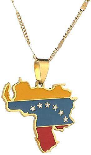 Zaaqio Collar de Acero Inoxidable de Moda con Colgante de Bandera de Mapa de Venezuela, Collar con Encanto de Mapa venezolano, joyería para Mujer
