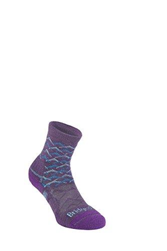 Bridgedale Damen Lightweight Ankle Height Merino Socks Large Purple Leichte Knöchelhöhe Endurance, Lila/Aqua