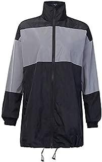 YXHM A Matching Reflective Jacket Female Autumn high Collar Long Fashion Brand Zipper Windbreaker (Color : Grey, Size : L)