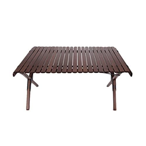 LDFN Table Fold Outdoor Camping Picnic Travel BBQ Portable Patio Garden Party Dining Cake Roll Table Solid Wood 4-6 People (Color : Brown, Size : 60 * 45 * 35cm)