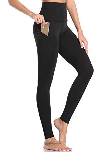 Legging Femme Collant de Yoga Taille Haute Pantalon Sport Jogging Running Gym Pilates Vêtements avec Poches,M,Noir