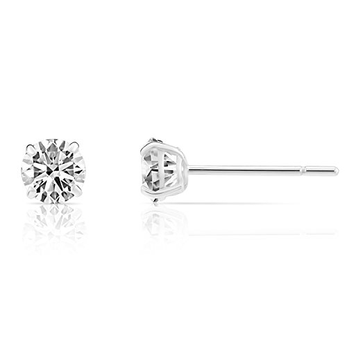 14k White Gold Solitaire Round Cubic Zirconia Stud Earrings with Silicone Pushbacks...