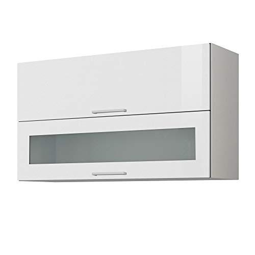LIVATHA Küchen-Klapphängeschrank MÜNCHEN - Mit Glasklappe - 2-türig - Breite 100 cm - Hochglanz Weiß