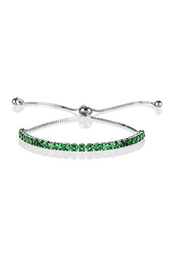 ZAVANA Pulsera Ajustable para Mujer con Piedras Verdes. Pulsera de Plata para Mujer con Circonitas. Pulsera Verde para Mujer.