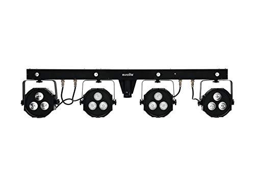 EUROLITE LED KLS-170 Kompakt-Lichtset/Bar mit 4 RGB-Spots, kaltweißen + UV-Strobe-LEDs, Fußcontroller, Tasche