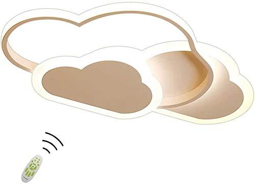 Lámpara de techo creativa con forma de nube con control remoto regulable, luz de techo acrílica, montaje empotrado para sala de estar, habitación de niños, 52 cm (20,5 pulgadas) 42 W blanco