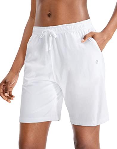 G Gradual Women's Bermuda Shorts Jersey Shorts with Deep Pockets 7' Long Shorts for Women Lounge Walking Athletic (White, Large)