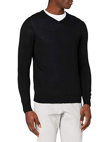 Amazon-Marke: MERAKI Merino Pullover Herren mit V-Ausschnitt, Schwarz (Black), S, Label: S