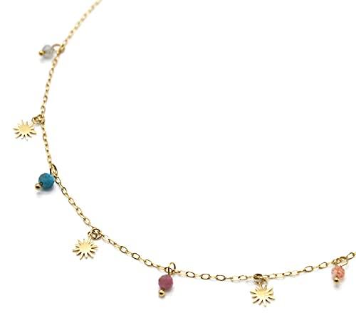 Oh My Shop CC3583 - Collar con cadena con cuentas solares de acero dorado y piedras multicolores