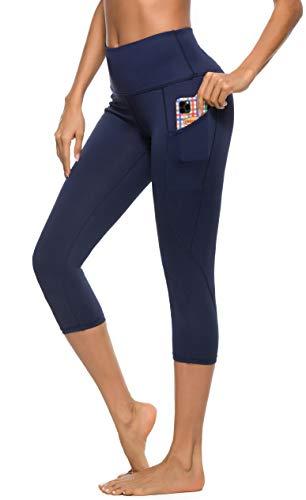 Vlazom Leggings Deportivas Mujer de Alta Cintura con Bolsillos Invisible, Pantalones de Yoga Mujer de Elásticos y Transpirables para Yoga y Correr etc