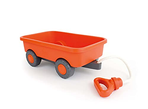Green Toys Wagon, Orange - Pretend Play, Motor Skills, Kids Outdoor Toy Vehicle. No BPA, phthalates, PVC. Dishwasher Safe, Recycled Plastic, Made in USA.