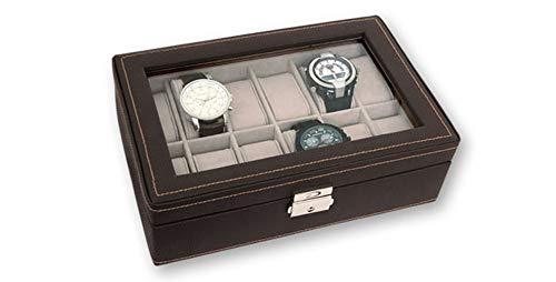 Dakota Caja de Piel para 12 Relojes de Color marrón Oscuro con Recubrimiento Interior de Terciopelo con Tapa Transparente y Cierre de Seguridad con Llave 1 Unidad