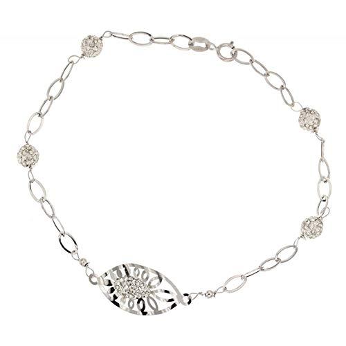 Oro blanco 18K circonita pulsera de cadena